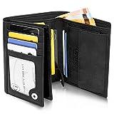 GenTo Herren Geldbörse Oslo mit Münzfach - TÜV geprüfter RFID NFC Schutz - Geräumiger Geldbeutel im Hochformat - Inklusive Geschenkbox - erhältlich in 4 Farben | Design Germany (Schwarz - Soft)