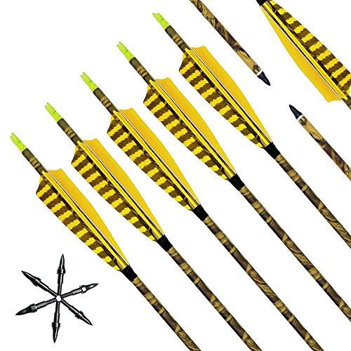 Narchery Pfeile, 31 Zoll Camo Bogenpfeile Carbon Pfeile für Bogenschießen mit Naturfeder, Jagdpfeile für Bogen, Recurvebogen, Langbogen und Traditionellen Bogen, 12er Set