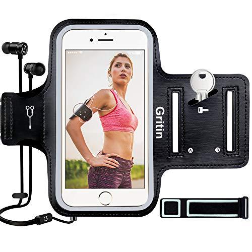 Sportarmband Handy, Gritin Schweißfeste Handytasche fürs Oberarm, mit Schlüsselhalter, Kopfhörerloch und Verlängerungsband - für iPhone X/8/7/6/6s und Handy bis zu 6.5'