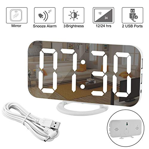 Spiegel Wecker-Digitaler Wecker, große 6,5'LED-Anzeige mit Dimmer-Modus zur Helligkeitsmessung, einstellbare Helligkeit, 2 USB-Ladeanschlüsse für Schlafzimmer Wohnzimmer-Wohnkultur Weiß