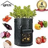 QFUN 4 Stück Pflanzsack groß, Pflanzbeutel Pflanztasche Pflanzsäcke Wachsende Tasche Kartoffelsack zum Kartoffeln, Tomaten, Kräuter usw (Schwarz Per Stück 10 Gallonen,35 x 45cm)