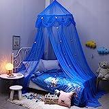 Baby Betthimmel Deko Baldachin Moskitonetz Kinder Prinzessin Spielzelte Dekoration für Kinderzimmer (Blau)