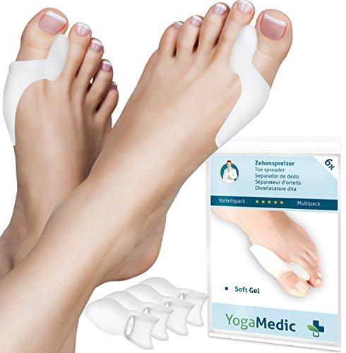 6x Hallux Valgus Zehenspreizer von YogaMedic - PREMIUM-Set - Super weich, komfortabel und hohe Lebensdauer - Silikon Zehentrenner - Mit Zufriedenheitsgarantie - BPA Frei