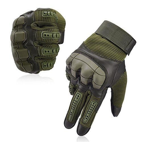 Vbiger Motorradhandschuhe Taktische Handschuhe Vollfinger Handschuhe für Motorrad Fahrrad Airsoft Militär Paintball, Stil 3-armeegrün, M