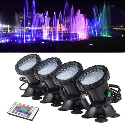 jinclonder Unterwasserscheinwerfer, wasserdichter LED-Beleuchtungs-Scheinwerfer RGB 36 LED IP68-Tauchscheinwerfer für Aquarium-Beleuchtungs-Gartenteich-Pool-Brunnen-Wasserfall