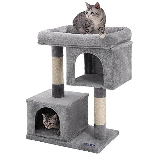 SONGMICS Kratzbaum mit Großer Plattform und 2 Plüschhöhlen Spielhaus, Kletterbaum für Katzen hellgrau PCT61W