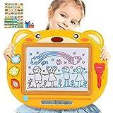 Peradix Zaubertafel für Kinder, Zeichentafeln 43 x 35 cm ,Buntes magnetisches löschbares Reißbrett mit 3 x Stempel (Gelb)