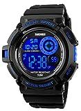 Herren digitale Sportuhren – Outdoor 50 Meter wasserdicht militärische Chronographuhr, Sport Laufen Armbanduhr mit Wecker für Männer