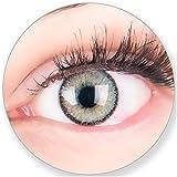 Glamlens Kontaktlinsen farbig grau ohne und mit Stärke - mit Kontaktlinsenbehälter. Sehr stark deckende natürliche graue farbige Monatslinsen Silbergrau 1 Paar weich Silikon Hydrogel 0.0 Dioptrien