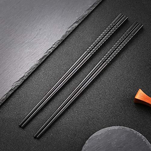 Japanische EssstäBchen 5 Paar Alloy Chopsticks Wiederverwendbare EssstäBchen Waschbar FüR GeschirrspüLer Geschirr Set Mit LuxuriöSe Schwarz Handgemachte G3