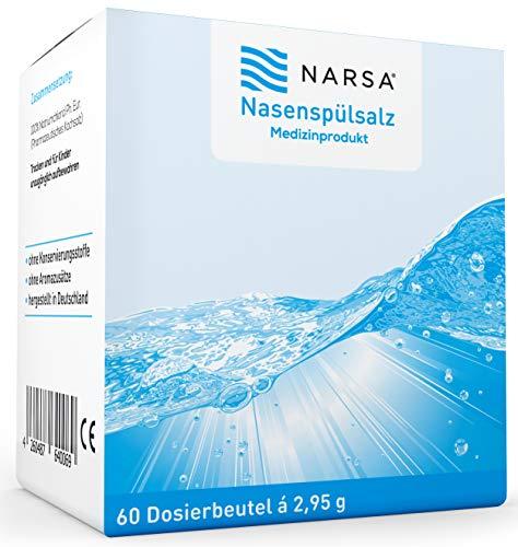 Nasenspülsalz 60 Stk NARSA für die Nasendusche zur Reinigung der Nase bei Schnupfen Erkältung oder Pollen Allergie Nasensalz für Nasenspülung mit der Nasenspülkanne