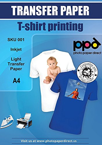 PPD Inkjet Transferpapier zum aufbügeln auf helle T-Shirts, DIN A4, 10 Blatt