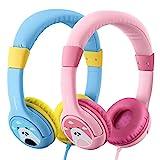 2 Stück Kopfhörer Kinder Mpow CH1 Kopfhörer für Kinder mit 85dB Lautstärke Begrenzung Gehörschutz & Musik-Sharing-Funktion, Kinderfreundliche sichere Lebensmittelqualität, Blau & Rosa