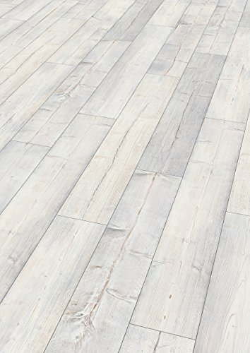 EGGER Home Comfort - Design Korkboden weiß Holzoptik, Villefort Pinie weiss EHC008 (8mm, 1,995m²) Designboden Kork Laminat mit Trittschalldämmung - warm & leise