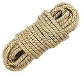 100% natürliche Seile - LUOOV 6mm Dicke und starke JuteSeil Schärpe, Camping Seil, Garten, Bootfahren, Tauziehen, Haustiere, Kletterseil, Mehrzweck Utility Sisal Seil