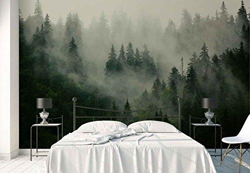 Vlies Fototapete Fotomural - Wandbild - Tapete - Wald Nebel Natur - Thema Wald und Bäume - XXL - 416cm x 290cm (BxH) - 4 Teilig - Gedrückt auf 130gsm Vlies - FW-1116VEXXXXL