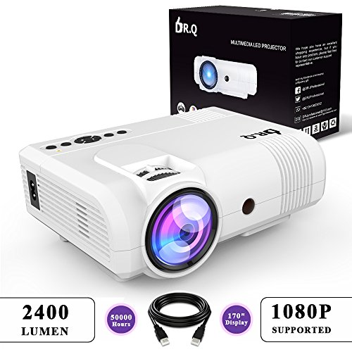 DR.Q 2400 Lumen Beamer (+20% Bildhelligkeit), mini Beamer mit 170' Display, 50000 Stunden, Video Beamer unterstützt 1080P, Verbindung mit TV Stick HDMI VGA USB AV TF Gerät, mit HDMI und AV Kabel, Weiß