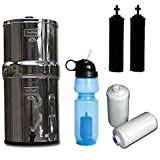 Berkey Travel Water Filter System, with Black Purifiers, Fluoride Filters & Sport Bottle (with Filter)! Great for Camping
