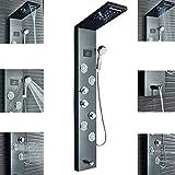 Rozin Schwarz Dusche Duschpaneel aus Edelstahl mit LED Regen und Wasserfalltemperatur-Bildschirm 3 Griffe ABS Handbrause Wanne Auslauf 4 Massagedüsen an der Wand