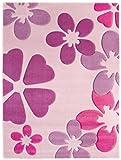 Kinderteppich Mädchenteppich Blumenteppich Kinderzimmer Spielunterlage Blumen Design - weicher Flor komplett umkettelt strapazierfähig pflegeleicht schadstofffrei – hellrosa rosa lila – 80 x 150 cm