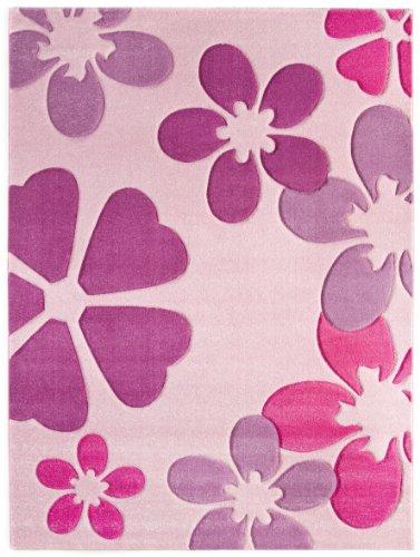 Kinderteppich Mädchenteppich Blumenteppich Kinderzimmer Spielunterlage Blumen Design - weicher Flor komplett umkettelt strapazierfähig pflegeleicht schadstofffrei – hellrosa rosa lila – 120 x 170 cm