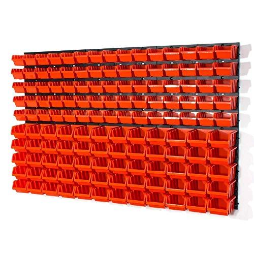Lager Werkstatt Wandregal Lagerregal 75 Stapelboxen Orange Gr.1, 60 Stapelboxen Orange Gr.2 + Organizer