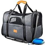 Zodae Hundetragetasche, Faltbare Katzentragetasche mit Baumwolle-Pad, weiche Reisetasche für Hunde und Katzen, Transporttasche für Auto- und Flugreisen, Hundebox mit Rutschfester Boden, schwarz