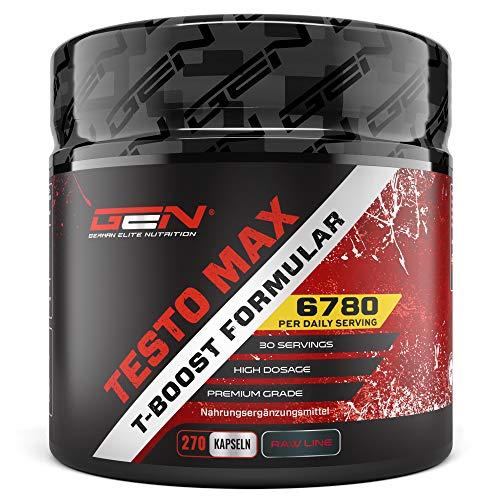 Testo MAX - 270 Kapseln - Hochdosiert mit 6780 mg pro Tagesportion - 30 Portionen - Extreme T-Boost Formel mit Aminosäuren + Tribulus + Maca Extrakt + Boron - Natürlicher Testosteron Booster - Sehr Beliebt bei Bodybuildern und aktiven Männer