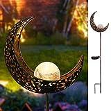 Garten-Solarleuchten im Freien, Metall Mond LED Stake dekorative Lichter für Terrasse, Weg, Hof, Rasen