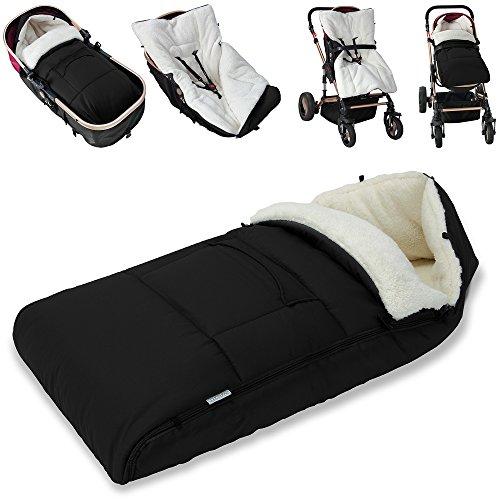 Babyfußsack Baby Fußsack Winterfußsack Babyschale Kuschelsack Babydecke Kinderwagen waschbar verschließbarer Kopfteil gut gefüttert schwarz