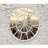 murando - Fototapete New York 300x210 cm - Vlies Tapete - Moderne Wanddeko - Design Tapete - Wandtapete - Wand Dekoration - Wand City Stadt Architektur Ziegel Holz Strand Sepia d-A-0008-a-b