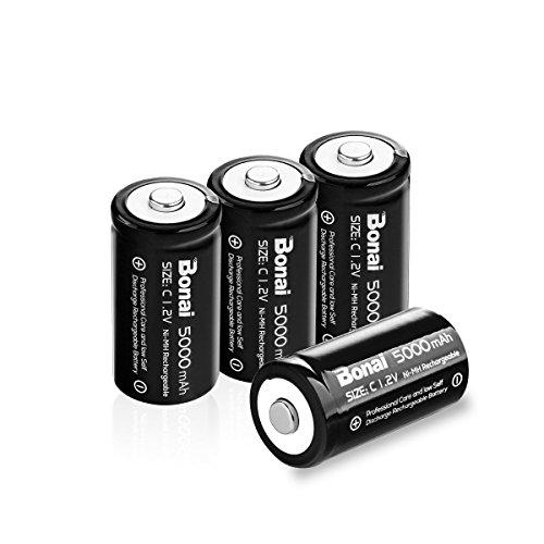BONAI 5000mAh Baby C Akkubatterien 1.2V NiMH wiederaufladbar Akkus mit geringer Selbstentladung & Lange Lebensdauer (4 Stück)