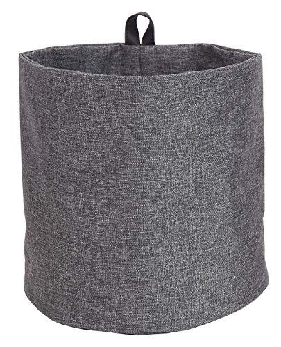 Bigso Box of Schweden Hängekorb groß - runder Wandkorb mit Schlaufe und in Leinenoptik - Aufbewahrungsbox zum Aufhängen oder Hinstellen aus Polyester und Karton - grau