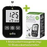 adia Blutzuckermessgerät [mg/dl] mit 10 Teststreifen - für Diabetiker zur Messung des Blutzuckers