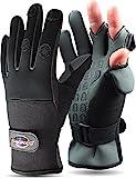 normani Anglerhandschuhe aus Neopren mit umklappbaren Fingerkuppen und Silikon-Innenseite Farbe Schwarz/Grau Größe XL