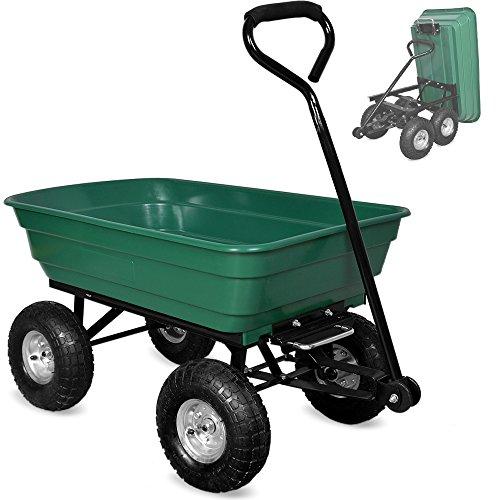 Gartenkarre aus Kunststoff  Kippfunktion  Lenkachse  Luftreifen - Bollerwagen Muldenkipper Kippwagen Transportkarre Gartenwagen