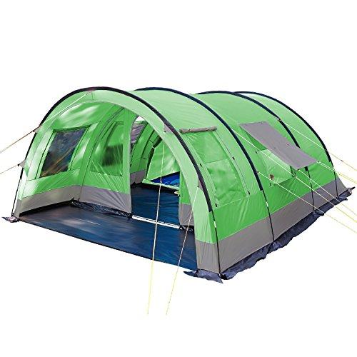 skandika Helsinki 6 Personen Familienzelt, Tunnel Gruppen Zelt mit Versetzbarer Vorderwand, Große Sonnendach, Organizer-Taschen, 5000 mm Wassersäule (grün)