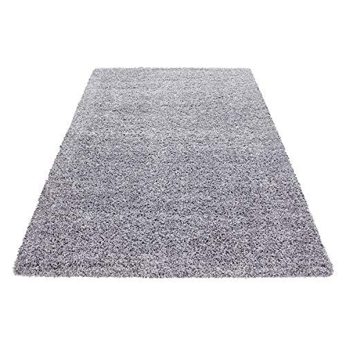 Hochflor Shaggy Teppich Wohnzimmer 3 cm Florhöhe einfarbig Teppiche mit OKOTEX, Maße:140 cm x 200 cm, Farbe:Hellgrau