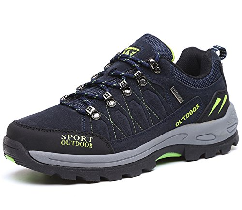 NEOKER Wanderschuhe Trekking Schuhe Herren Damen Sports Outdoor Hiking Sneaker Blau 46