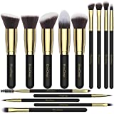 EmaxDesign Make-up Pinsel 14 Stück Professionellen Schmink Pinselset Synthetisch Foundation Grundierung Bürsten für Lidschatten Augen und Gesicht Flüssiges Pulver Crème-Kosmetik(Golden Schwarz)