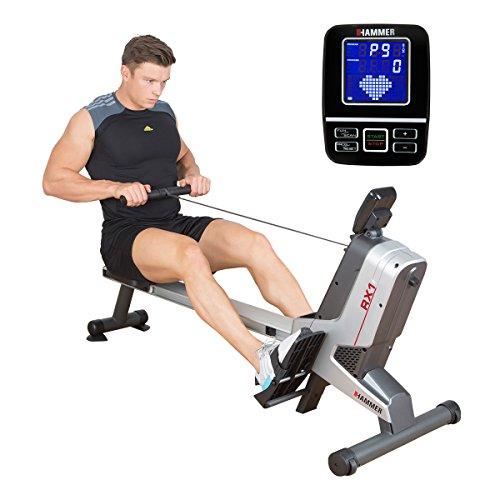 Premium HAMMER Rudergerät RX1 - Race Rower mit über 20 Trainingsprogrammen, darunter ein Wettbewerbs-Programm, Fatburn-Programm, Herz-Programm u.v.m., platzsparend und leicht aufstellbar