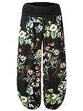 BAISHENGGT Damen Pumphose Haremshose Blumenmuster Lange Hose Schwarz-3 One Size