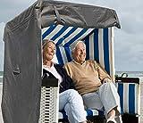 North Finest Premium Strandkorbhülle aus 600D Oxford | Wasserdicht | Atmungsaktiv | Winterfest | Wetterfest | Robuste Strandkorbabdeckung in Grau Anthrazit