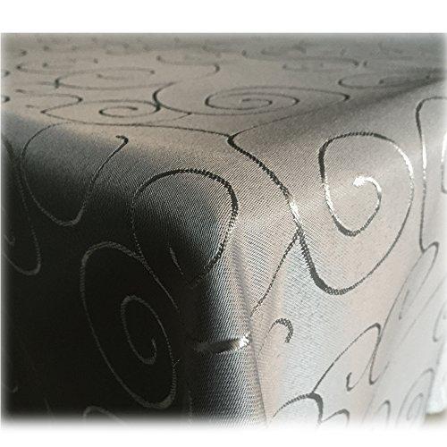 JEMIDI Tischdecke Ornamente Seidenglanz Edel Tisch Decke Tafeldecke 31 Größen und 7 Farben Grau 110x140