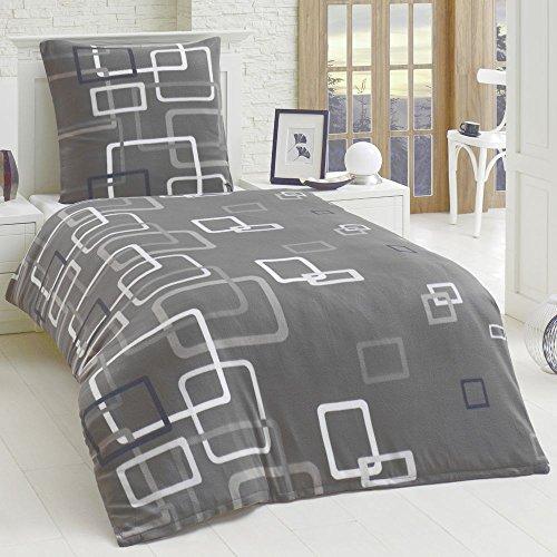 Dreamhome24 2 Teilige Microfaser Bettwäsche Bettbezug 135x200 155x220 80x80 Grau Boxes, Größe:135 x 200 cm