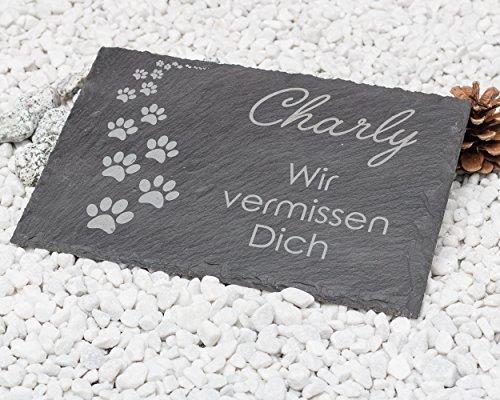 Gedenktafel 'Pfotenabdrücke' aus Naturschiefer 30x20 cm / Gedenkstein mit Text und Namensgravur / schönes Andenken an die Liebsten Grabstein Hund, Katze ...