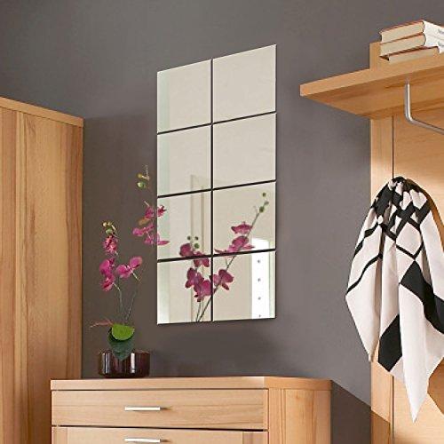 8 Stück Spiegelfliesen Spiegelkachel Fliesenspiegel Spiegel je 20,5x20,5cm Wanddekoration Wandspiegel