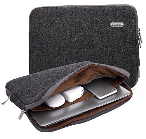 KAYOND Laptophülle 17 Zoll, Laptoptasche Laptop Sleeve Wasserabweisendmit Zubehörfach (Schwarz, 17 Zoll)