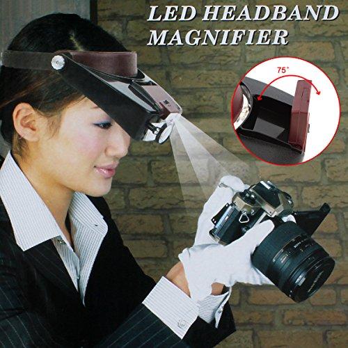 OriGlam Stirnlampe mit 10-facher Vergrößerung und LED-Licht, Kopflupe, zum Lesen, zur Schmuckherstellung, für Uhren-, Elektro-Reparaturen