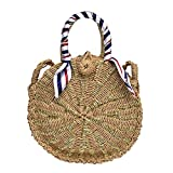 TentHome Rund Rattan Tasche Stroh Strandtasche Korbtasche Kreis Sommer Schultertasche Handarbeit böhmische Umhängetasche mit Schal (Golden)